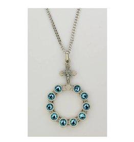 "McVan Aqua Swarovski Crystals in a Silver Rosary Ring on 24"" Rhodium Plated Chain"