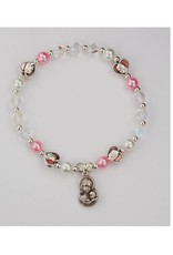 McVan Pearl & Pink Pearl Stretch Bracelet with Pink Madonna with Oxidized  Silver Mother and Child Medal