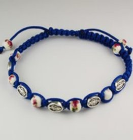 McVan Blue Miraculous Medal and Ceramic Cord Bracelet