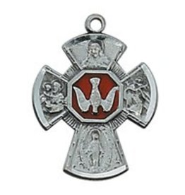 "McVan Antique Silver 4 Way Medal with 18"" Chain"