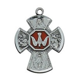 "McVan Antique Silver Four-Way Medal with 18"" Chain Necklace: St. Joseph, Scapular, Miraculous Medal, St. Christopher, Sacred Heart of Jesus"