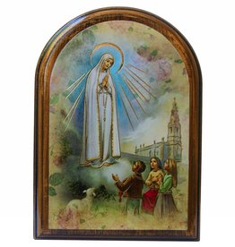 WJ Hirten Our Lady of Fatima Wooden Arched Plaque
