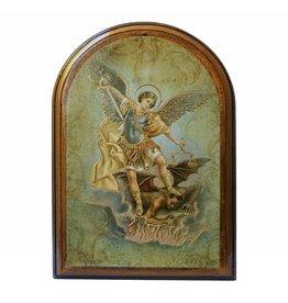 WJ Hirten Saint Michael Wooden Arched Plaque