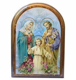 WJ Hirten Holy Family Wooden Arched Plaque
