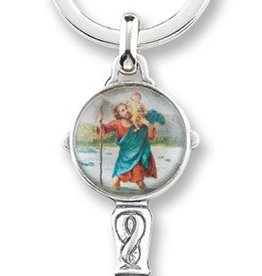 WJ Hirten St. Christopher Antique Silver Keychain with Enameled Image