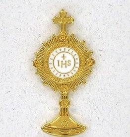 "Religious Art Inc 1.75"" Monstrance Pin with White IHS Center"