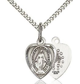 Bliss Manufacturing Sterling Silver Heart Shaped Miraculous Medal