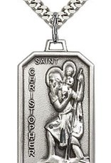 """Bliss Manufacturing Sterling Silver St. Christopher Pendant on 24"""" Chain"""
