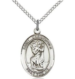 """Bliss Manufacturing Sterling Silver St. Christopher Medal Oval with 20"""" Chain"""