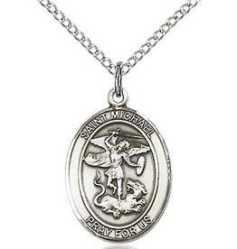 """Bliss Manufacturing Sterling Silver St. Michael Medal Oval on 20"""" Chain"""