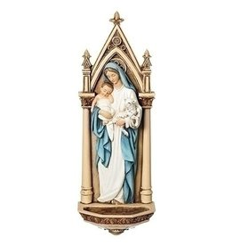 "Joseph's Studio 7.75"" Mary with Child Holy Water Font"