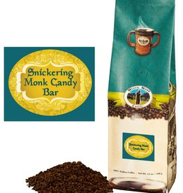 Mystic Monk Coffee Snickering Monk Candy Bar Ground Coffee