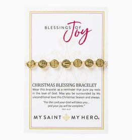 My Saint My Hero Blessing of Joy Christmas Blessing Bracelet Gold