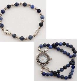 McVan Blue Lapis Rosary Watch Bracelet Set