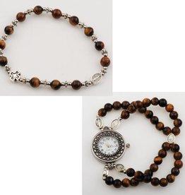 McVan Tiger Eye Rosary Watch Bracelet Set