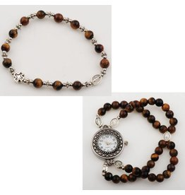 McVan Tiger Eye Rosary Watch Bracelet Set