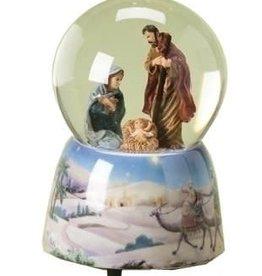 Holy Family Nativity Musical Silent Night Christmas Snow Water Globe