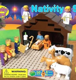 Trinity Toyz Trinity Toyz Nativity Set Building Blocks (50 Pieces + 8 Figures + 4 Animals)