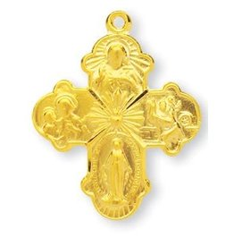 "HMH Religious Gold Over Sterling Silver 4 Way Cross with 24"" Chain"