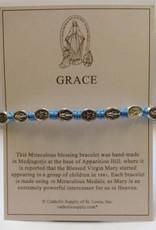 Abundant Blessings Miraculous Medal Corded Bracelet - Blue