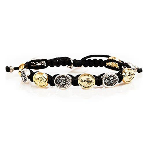 Abundant Blessings Miraculous Corded Bracelet Silver and Gold Medals
