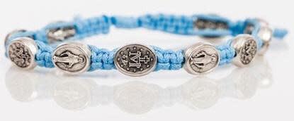 Abundant Blessings Light Blue Marian Corded Bracelet