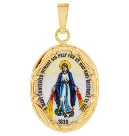 Stuller 14KT Small Porcelain Miraculous Medal
