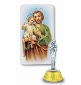 "WJ Hirten 2"" St. Joseph Antique Silver Card Statue with Gold Stamped Holy Cards"