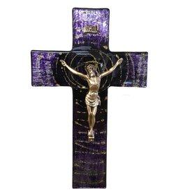"WJ Hirten 10"" Purple Swirl Glass Crucifix with Golden Corpus"