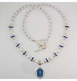 "McVan 18"" Blue and Pearl Miraculous Medal Necklace"