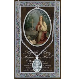 "WJ Hirten Saint Mary Magdalene 1.125"" Genuine Pewter Saint Medal with Stainless Steel Chain"