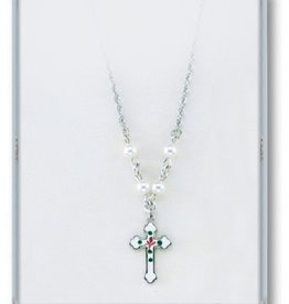 "HMH Religious 4mm White Swarovski Pearl Pendant with Sterling Silver Enameled Crucifix 18"" Chain"