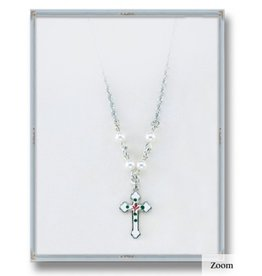 """HMH Religious 4mm White Swarovski Pearl Pendant with Sterling Silver Enameled Crucifix 18"""" Chain"""