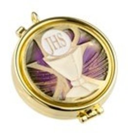 WJ Hirten Purple Enameled Chalice Pyx (Holds 7 Hosts)
