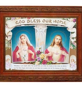 """WJ Hirten 10"""" X 12"""" Framed House Blessing with the Sacred Heart of Jesus and the Immaculate Heart of Mary"""