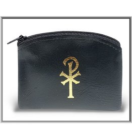 "WJ Hirten 2.5"" x 3"" Black Zip-Top Rosary Case"