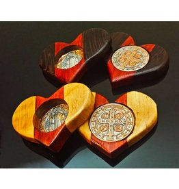 Cross of St. Benedict St. Benedict Wooden Heart Assorted Colors