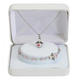 "McVan 16"" Angel Pendant Necklace and 6 1/5"" Bracelet Set"
