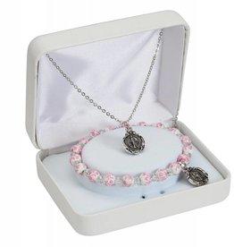 """McVan 16"""" Miraculous Medal Pendant Necklace and 6 1/5"""" Bracelet Set"""