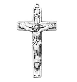 "McVan Antique Pewter Crucifix with 18"" Rhodium Plated Chain"