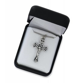 "McVan Antique Silver Crucifix with 18"" Rhodium Chain"