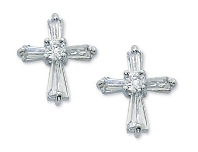 Mcvan Cubic Zirconia Cross Post Earrings Surgical Stainless Steel Posts