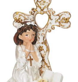 McVan Resin Communion Cross with Stand - Girl