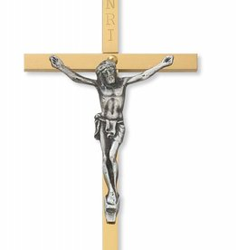 "McVan 2"" x 4"" Brass Crucifix with Silver Corpus"