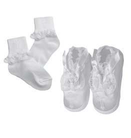 Haddad Brothers Girl's Baptism Socks and Shoes Set [2141]