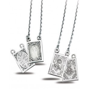HMH Religious Sterling Silver Two Piece Double Sided Scapular Medals