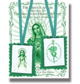 "WJ Hirten 2"" Green Scapular with Instruction Pamphlet"