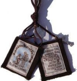 "WJ Hirten 1 3/4""X2"" 100% Wool Brown Scapular In Clamshell"