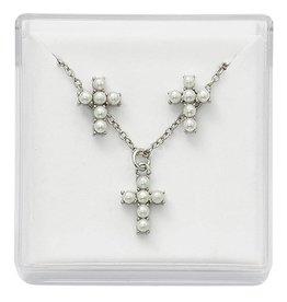 "McVan First Communion Pearl Cross and Earrings Set (16"" Rhodium Chain)"