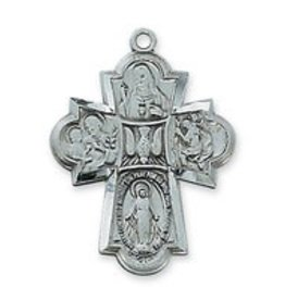 "McVan Antique Silver 4-Way Medal with 24"" Chain"